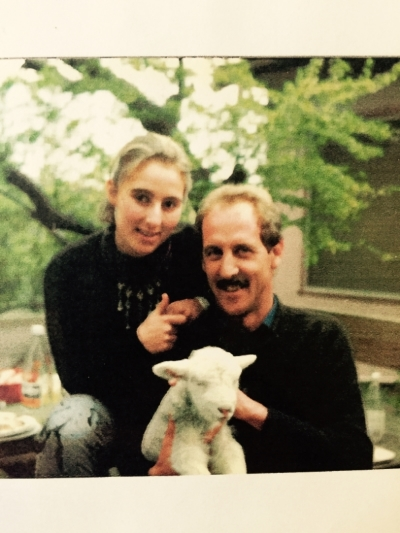 My Dad and me with a baby lamb... circa 1980s?