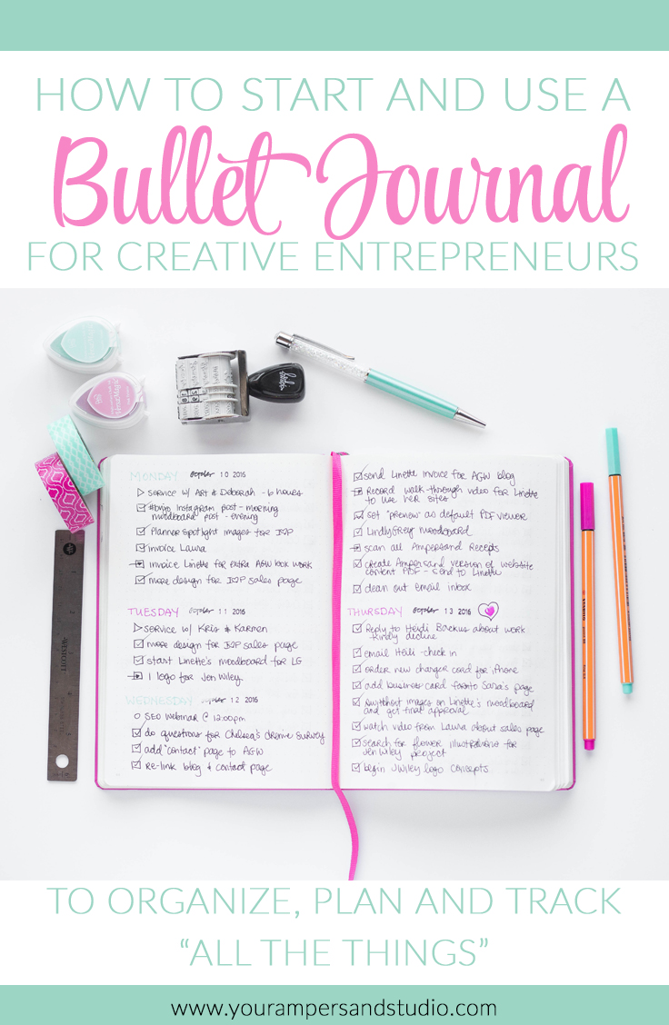 "How to start and use a bullet journal for creative entrepreneurs to organize, plan and track ""all the things"""