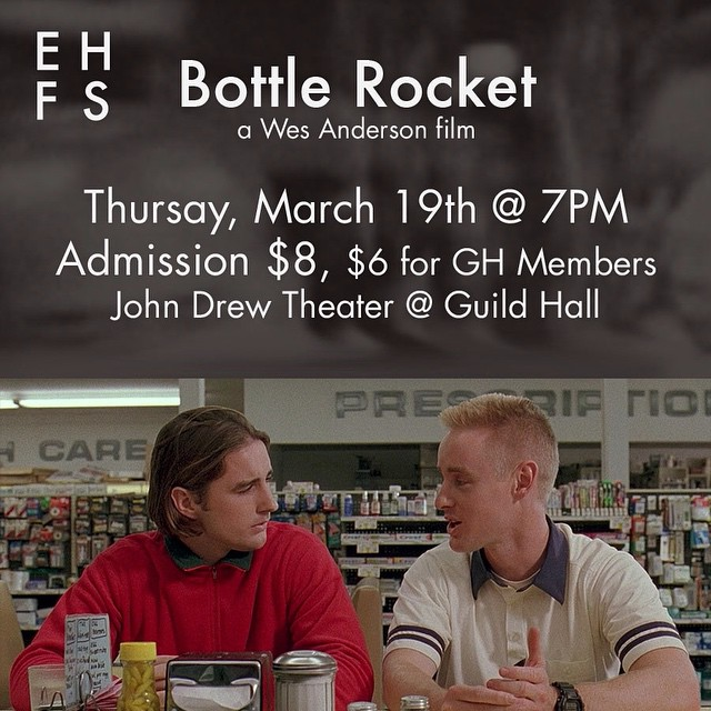 Wes Anderson's directorial debut, Bottle Rocket, will be our next film in our spring series! Come see this quirky heist film next Thursday, March 19th at 7! We can't wait!