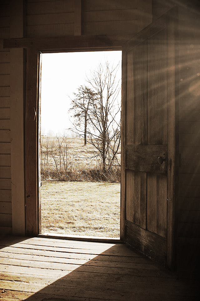 View out the front door of the Charles Sweeny Cabin, Appomattox Courthouse, Va. Photo courtesy of David Wooldridge.