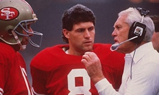 Joe Montana (L), Steve Young (C) and Bill Walsh (R).  Getty