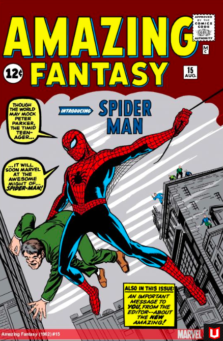 1969 Peter Parker makes his Marvel debut! Lee's inspiration for Spider-Man came of his desire to depict an adolescent hero who wasn't relegated to sidekick. Finding spiders 'spooky', Stan and artist Steve Ditko created Marvel's most globally recognized hero. Image via  Marvel
