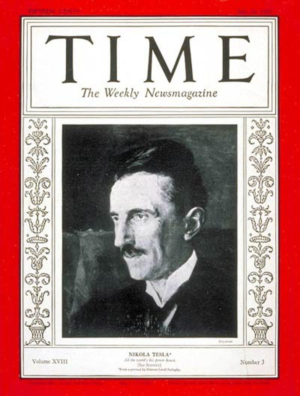 Tesla featured on the cover of Time magazine on his 75th birthday