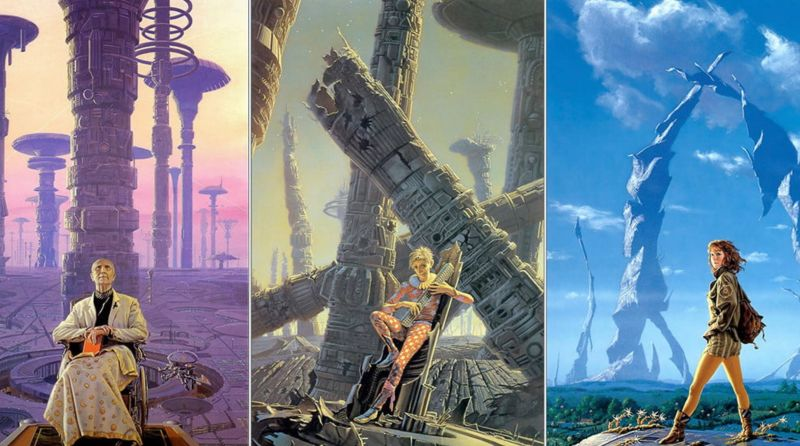 A collage of covers by Michael Whelan from Isaac Asimov's Foundation series. Image: Bantam Books
