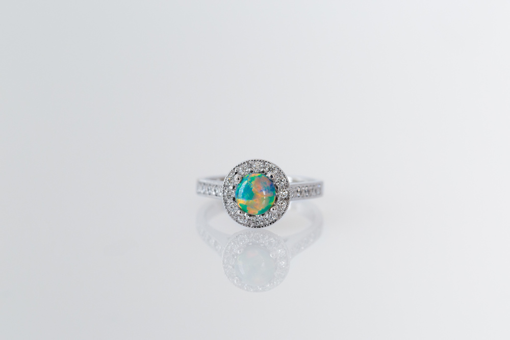 Black opal and diamond dress ring - Harlequin Jewellers