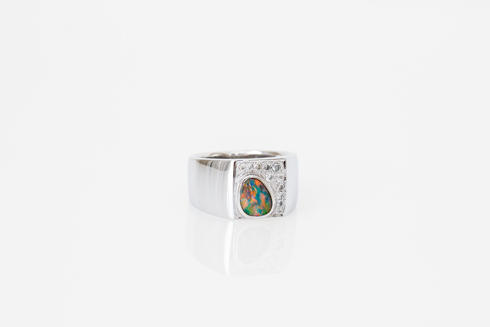 Black opal gents ring - Harlequin Jewellers