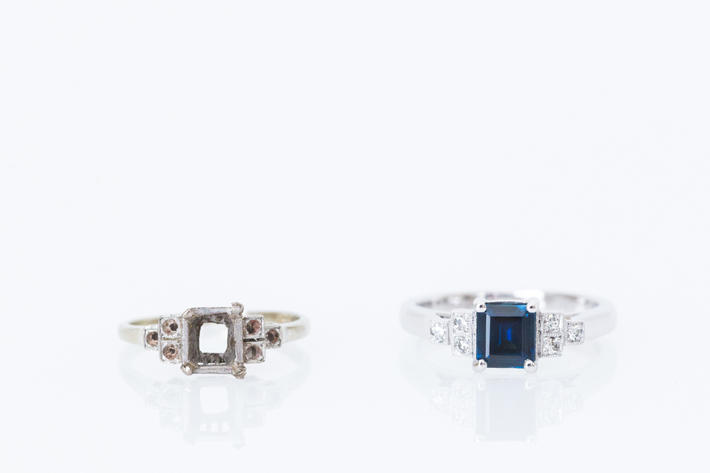 An engagement ring re-created to the same design as the original piece (original frame shown on left) - Harlequin Jewellers