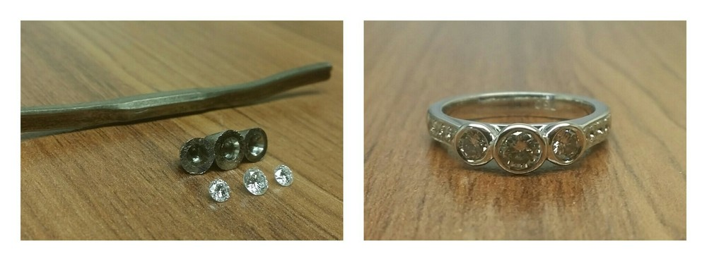 Engagement ring - Emma and Josh - Materials and finished piece - Harlequin Jewellers Canberra