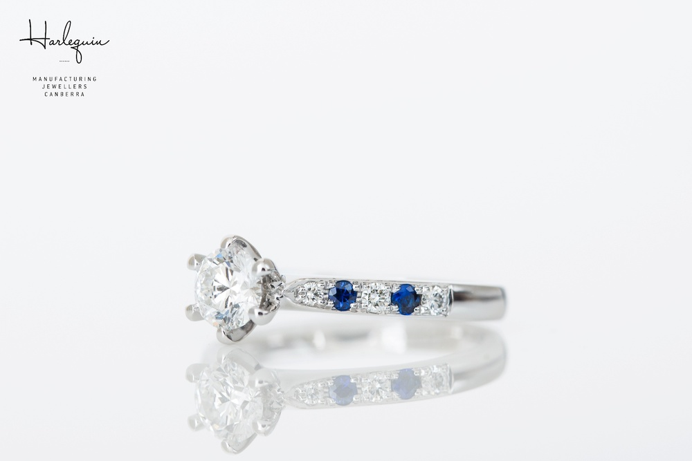 Round brilliant cut diamond engagement ring with ceylon blue sapphires - Harlequin Jewellers Canberra