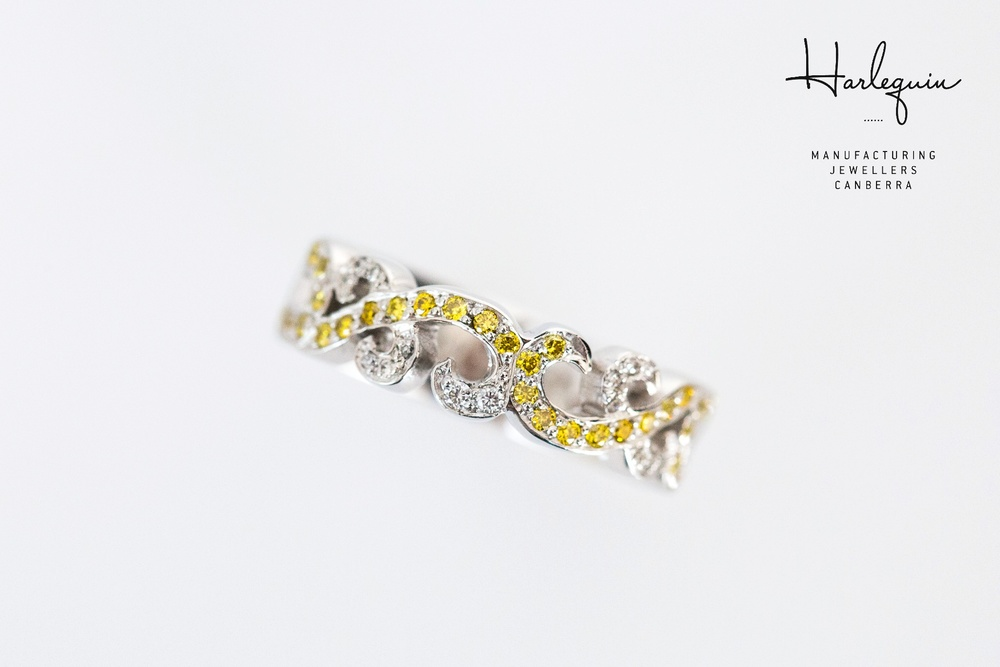 Filigree yellow and white diamond eternity ring - Harlequin Jewellers Canberra