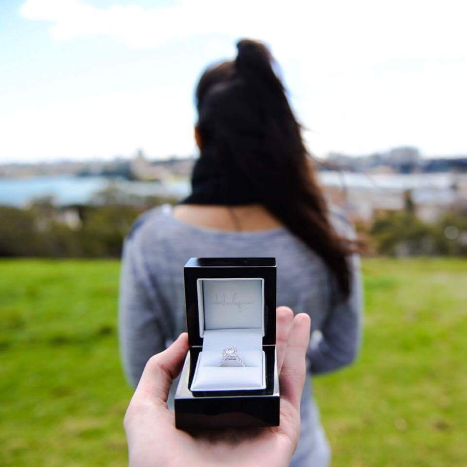 Capturing a proposal engagement ring box Harlequin Jewellers Canberra
