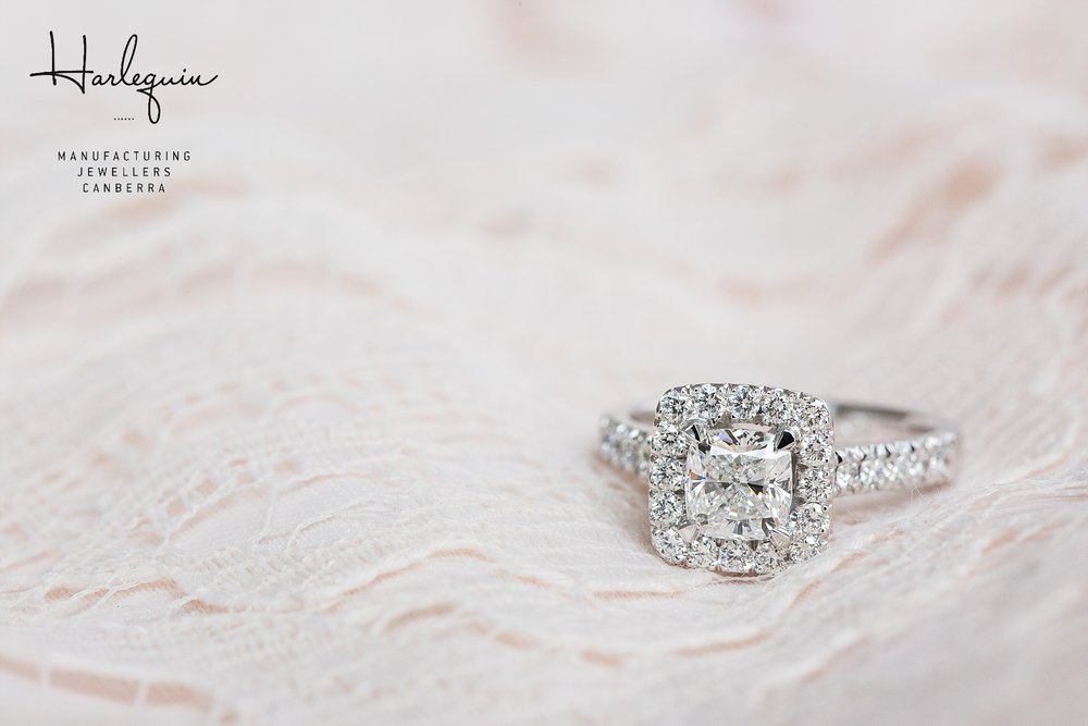 Handmade cushion cut halo engagement ring Harlequin Jewellers Canberra