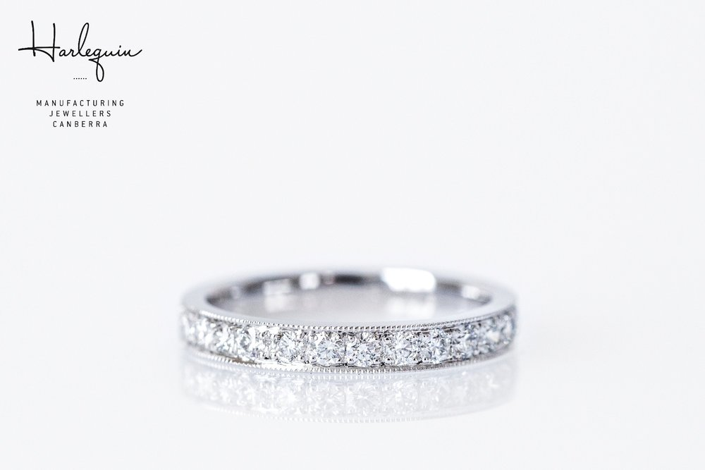 White gold and diamond wedding ring with milgrain edging Harlequin Jewellers Canberra