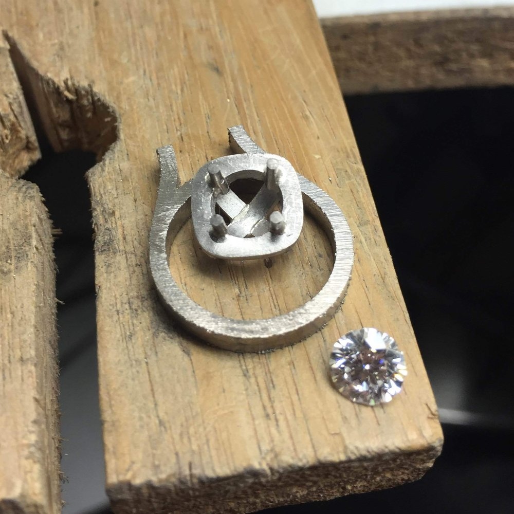 Creating Jason and Maggie's diamond engagement ring Harlequin Jewellers Canberra part 2