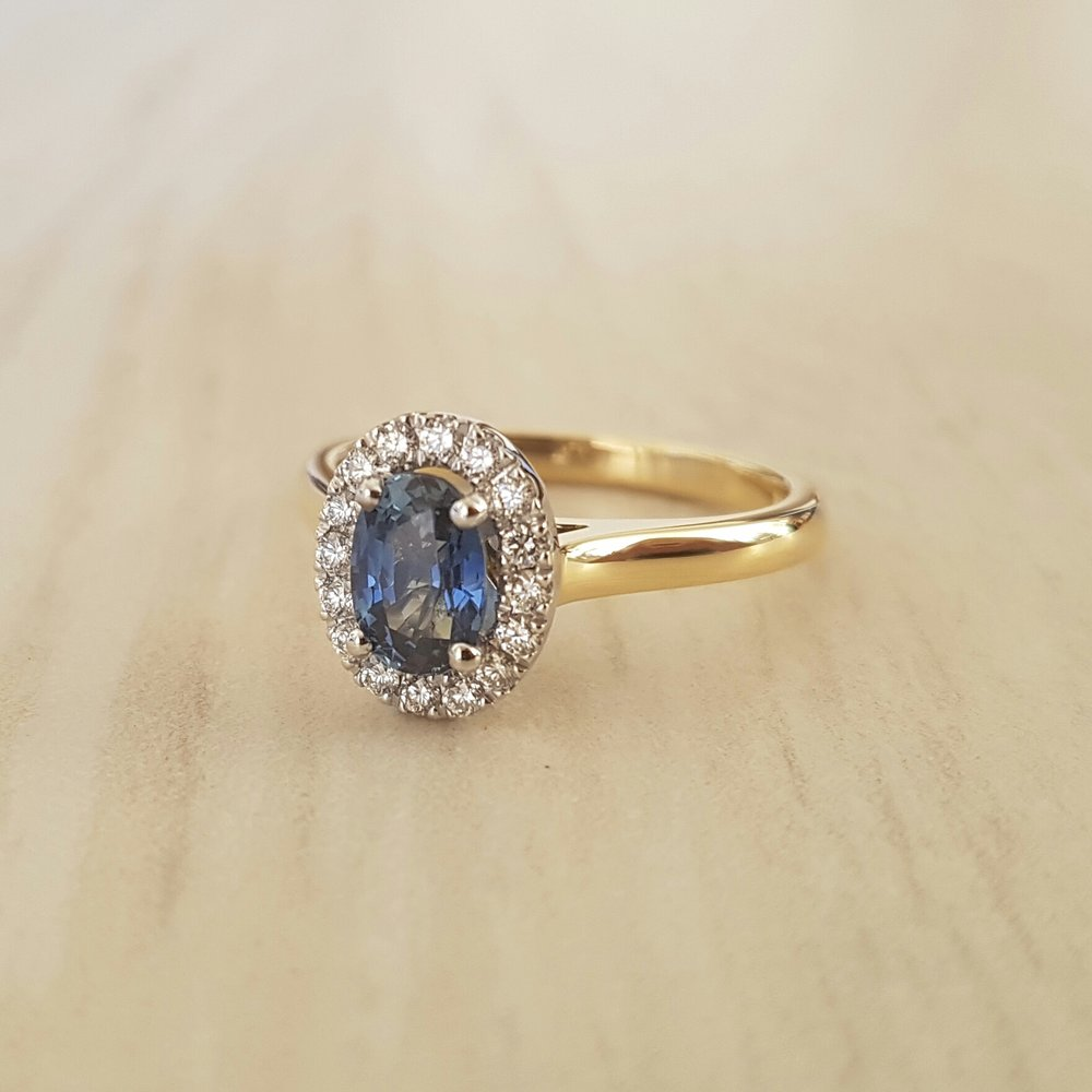 Sapphire and diamond engagement ring Harlequin Jewellers Canberra