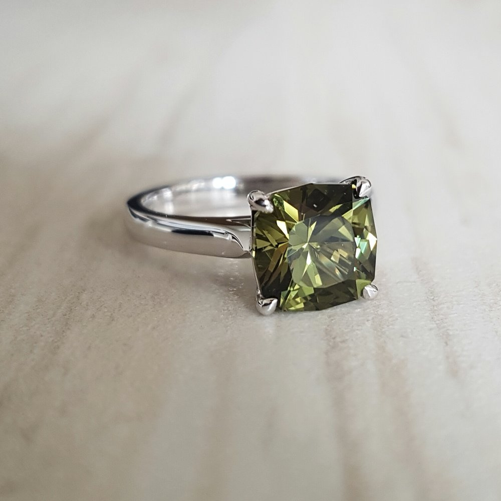 Green sapphire engagement ring Harlequin Jewellers Canberra