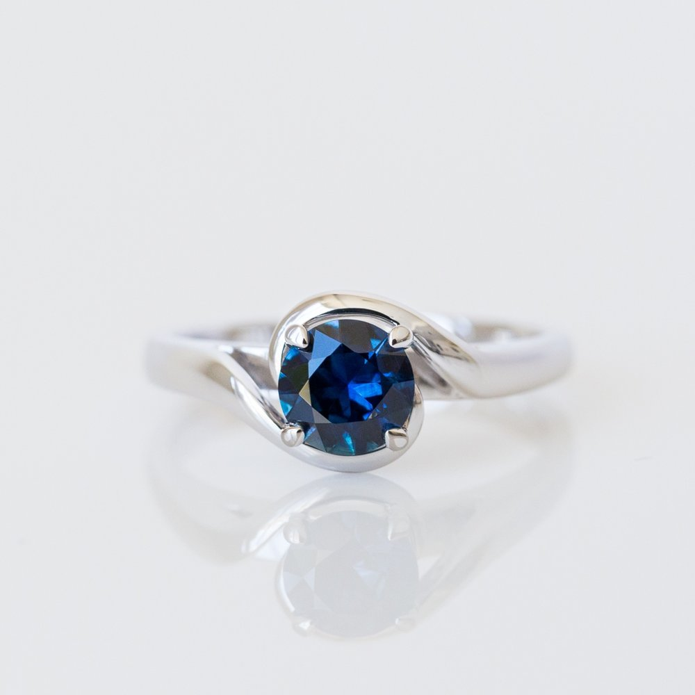 Blue sapphire engagement ring Harlequin Jewellers Canberra