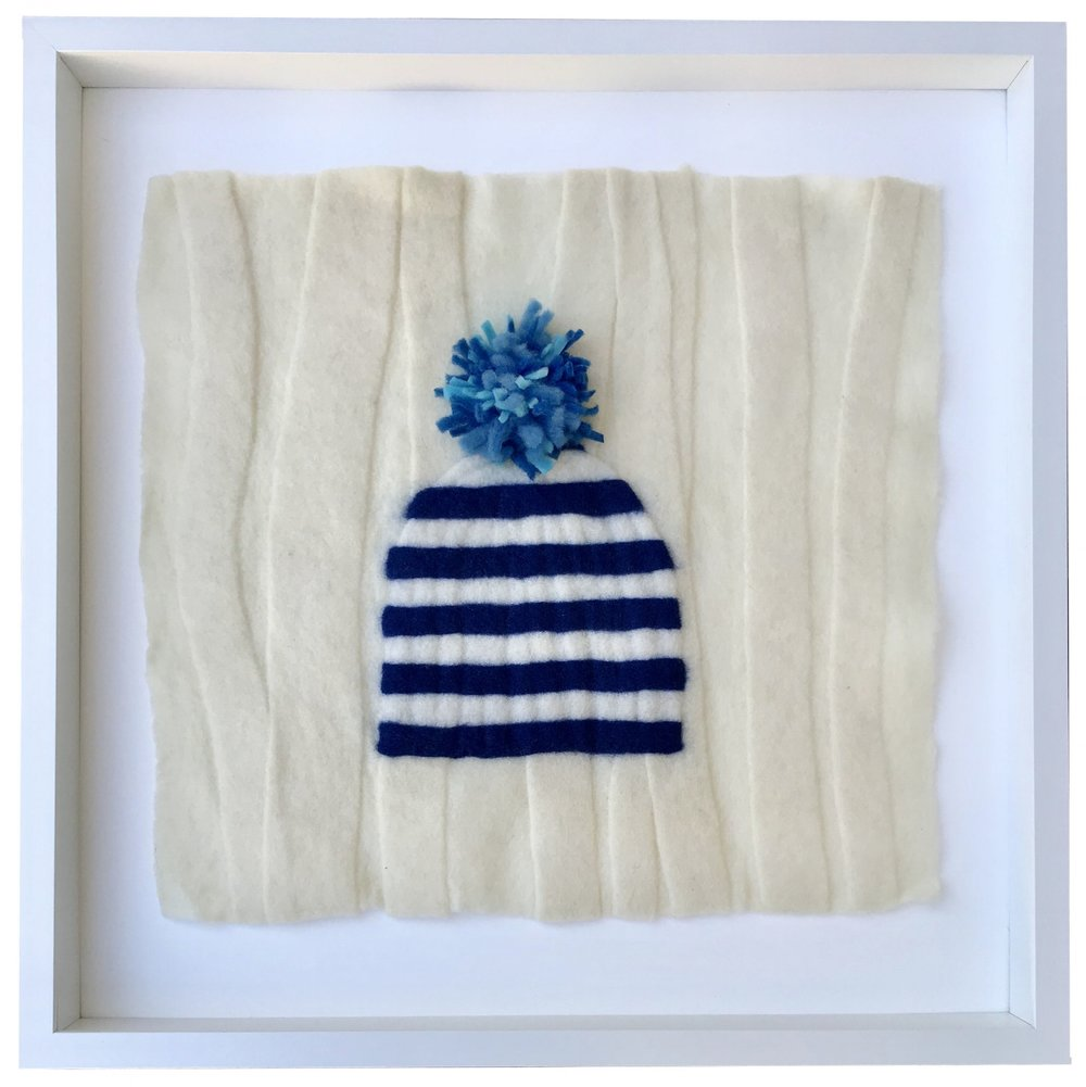 - Blue Striped Pompon Hat, 20x20 framed - SOLD