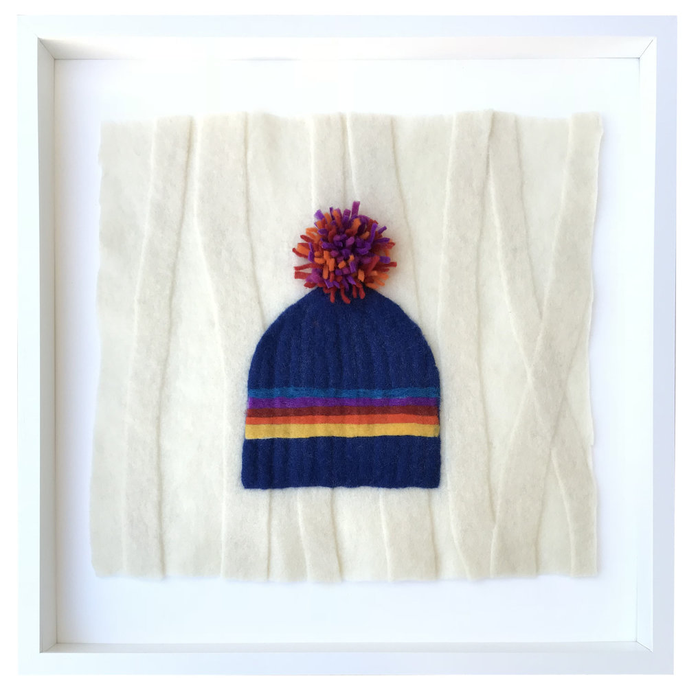 - Plum Pompon Hat, 20x20 framed - SOLD