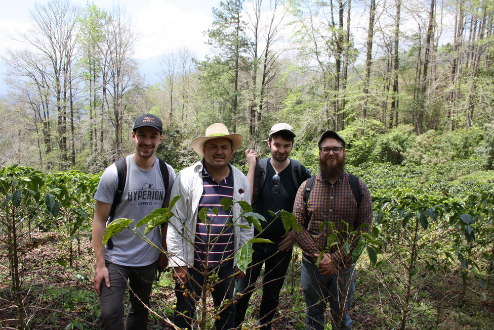 Hyperion at Rolando Carcamo's Farm. From left to right; Dan Kubera, Rolando Carcamo, Alex Merz, and Eric Mullins in Quiscamote, Honduras.