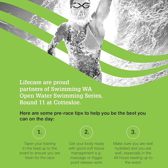 "Lifecare Cottesloe and Claremont are proud to announce we are partnering with @swimmingwa for the Cottesloe round of the Open Water Swimming - WA series. As part of this offer Lifecare Cottesloe and Claremont will give all competitors 20% off Physiotherapy services. To take advantage of this simply quote the code ""SWIMWA2019"" to our reception staff. We look forward to seeing everyone there! #townofcottesloe #townofclaremont #lifecarephysio #comeswimwithus #swimmingwa #swim4wa"