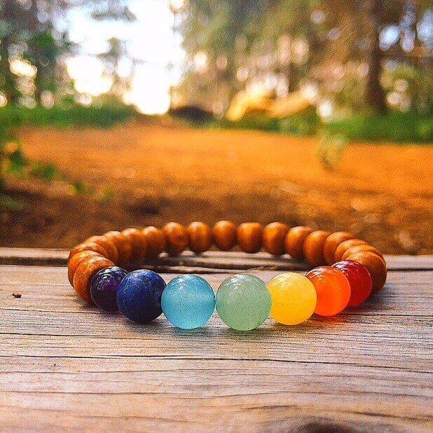 Chakra Crystal Wood Bracelet