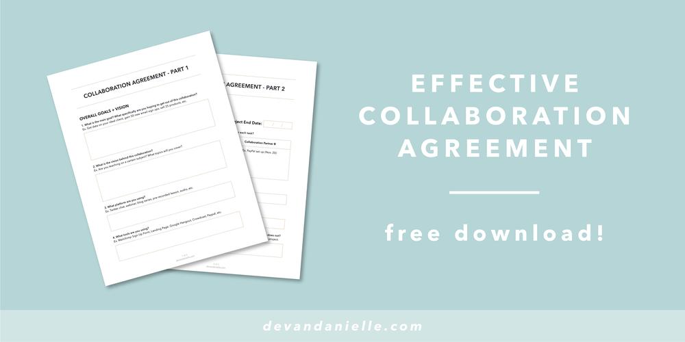 Devan Danielle Free Bonus Effective Collaboration Agreement