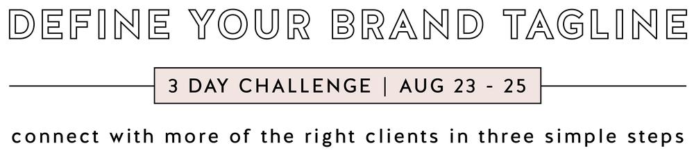 define your brand tagline challenge website banner