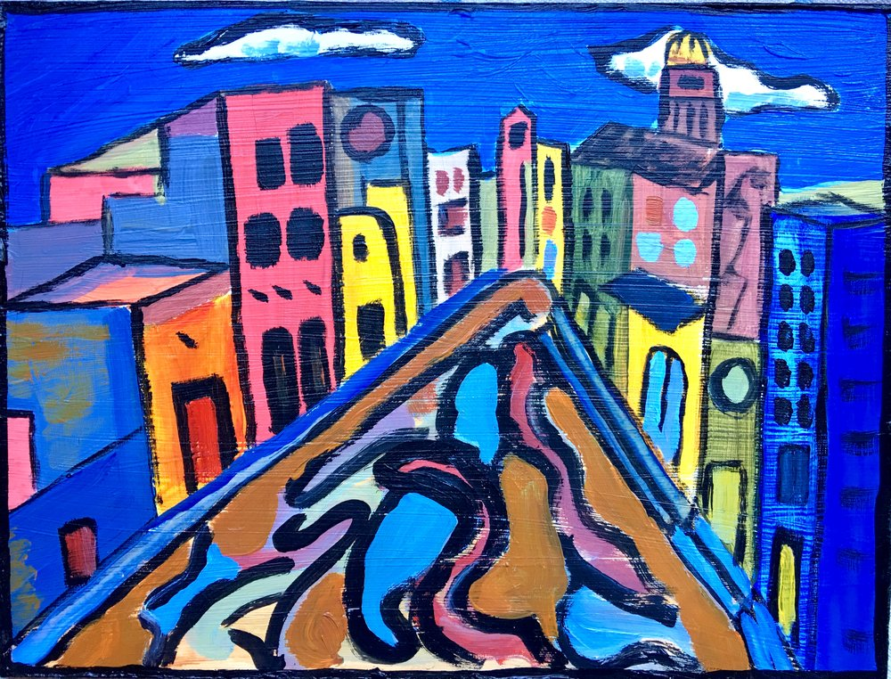 """San Miguel de Allende,"" 12 in by 17 ' Acrylic on Wood"