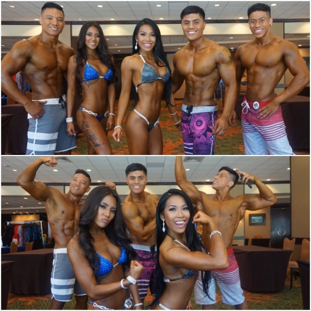 flexing pic (left to right):  #team max muscle hawaii:  aj quimson, erica rosales ..... #team max muscle san mateo:  nico abaya, delilah abaya, jairo linares