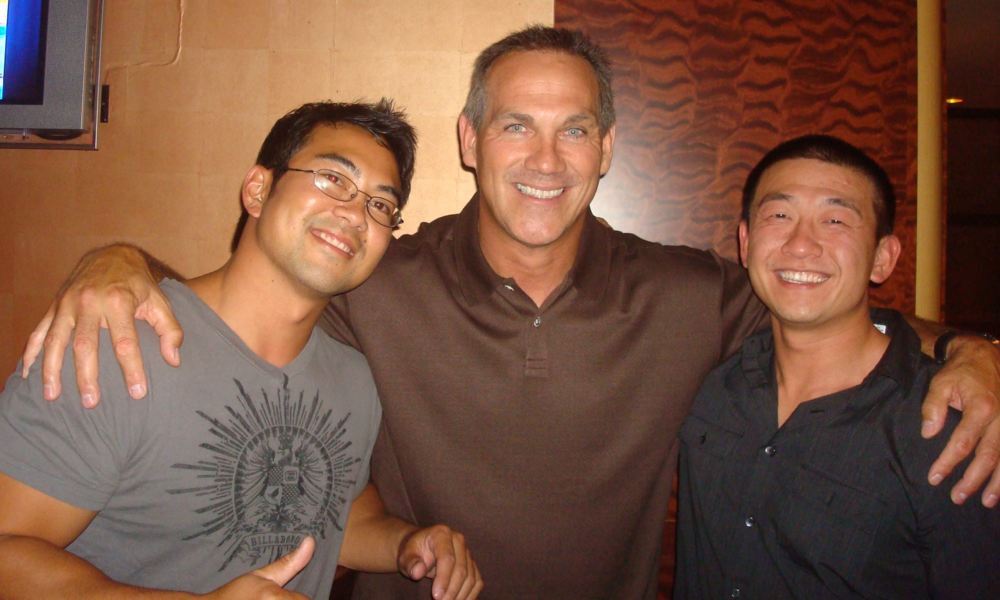 Joe Wells (middle) with MM San Mateo / San Francisco Castro owners: Jason Mayol (left) and Tri Huynh.