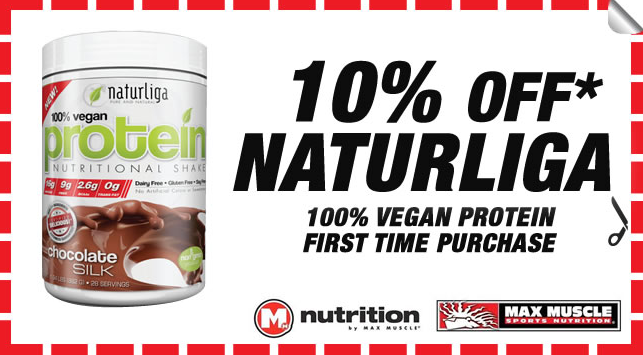 Present this coupon upon purchase at either Max Muscle store location in San Francisco (Castro) or San Mateo.