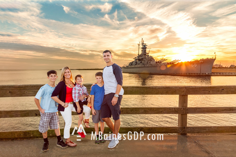 An amazing sunset and family @ USS Alabama