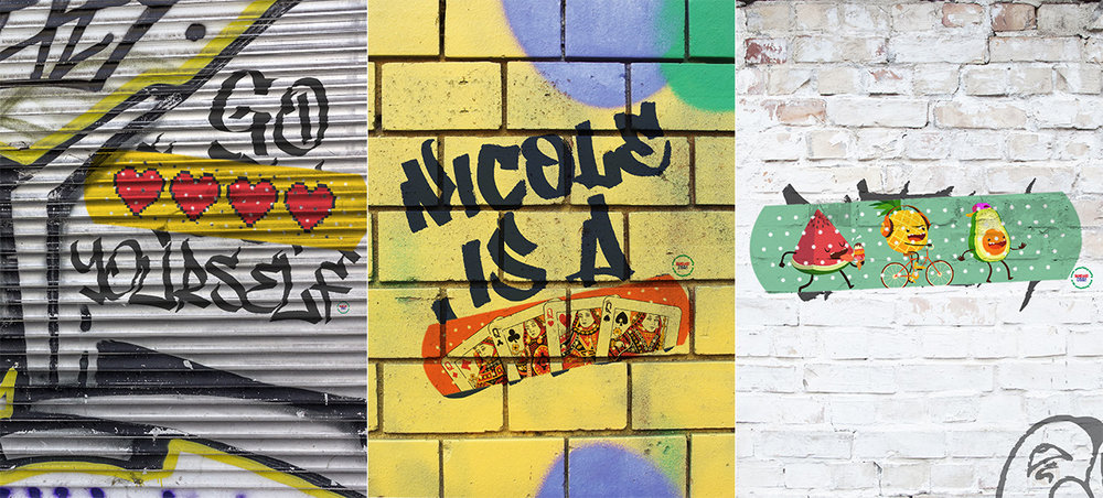 Outdoors, we will modify or conceal nasty graffiti with band-aid art.