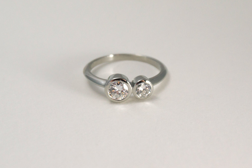 LORI Engagement Ring:  heirloom diamonds and 14k white gold.