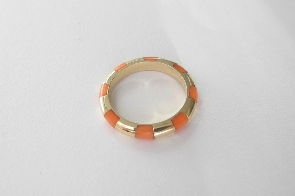 SARAH Engagement Ring:  vintage red coral inlay, 18k yellow gold.
