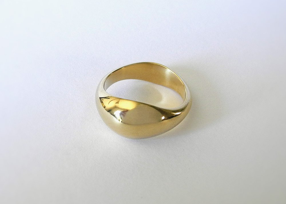 DAVID Wedding Ring:  Hand-carved custom shape, 18k yellow gold.