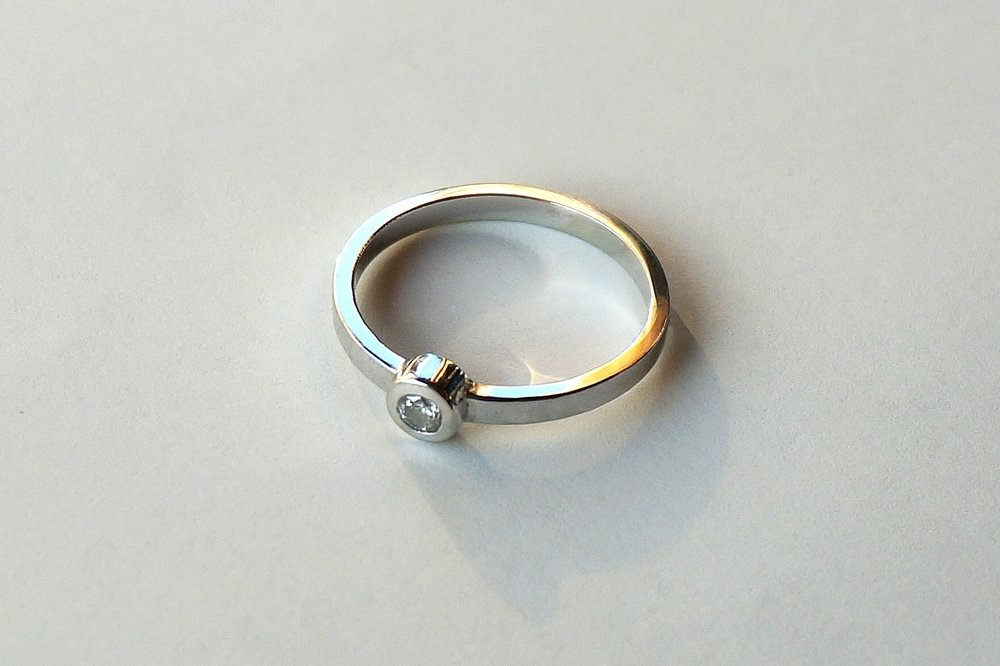 JILL Engagement Ring:  ethically-sourced diamond, 18k white gold.