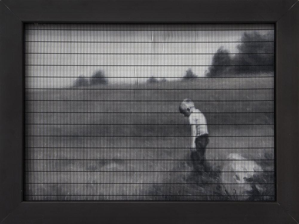 Del av serien  Hågkomst / Remembrance   Oil on Canvas, Frame with metal grid.  24 x 31 cm  2018