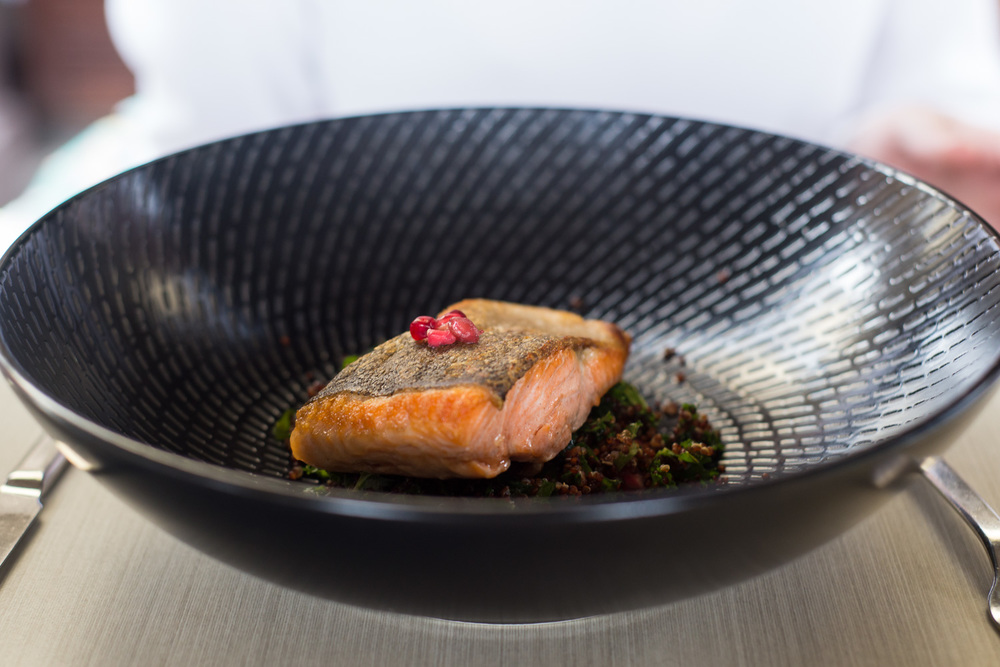 The ocean trout with quinoa, kale, walnuts, pomegranate, lemon balm and citrus crumble
