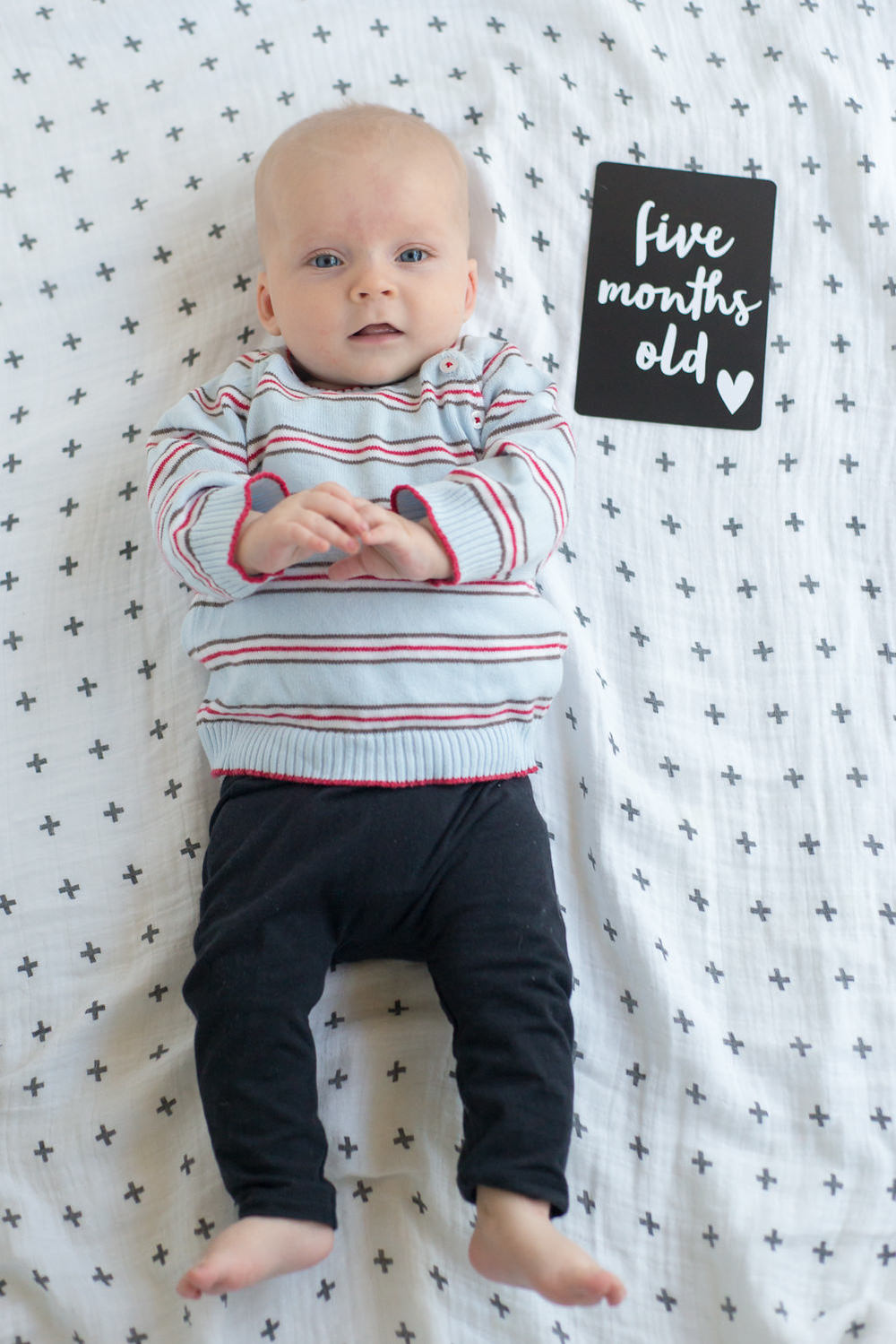 Beau is lying on a Modern Burlap muslin wrap, and wearing a Pure Baby jumper (bought 6 years ago when Mr 6 was a baby!) and Bonds leggings. Baby milestone card from Leni & Co