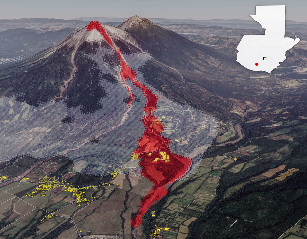 Graphic showing direct impact of the pyroclastic lava flow from Fuego Volcano June 6, 2018