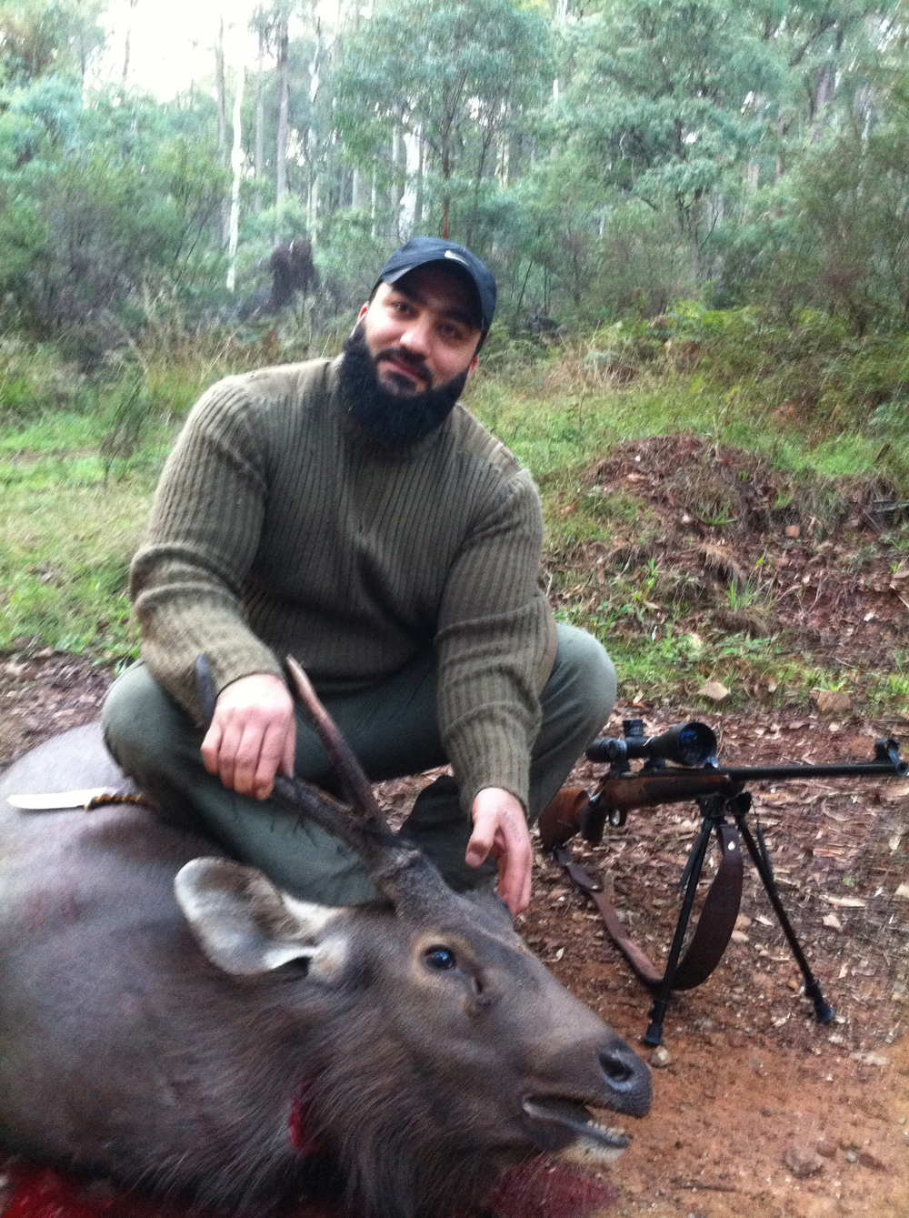 Bilal with his first sambar stag. Congratulations...