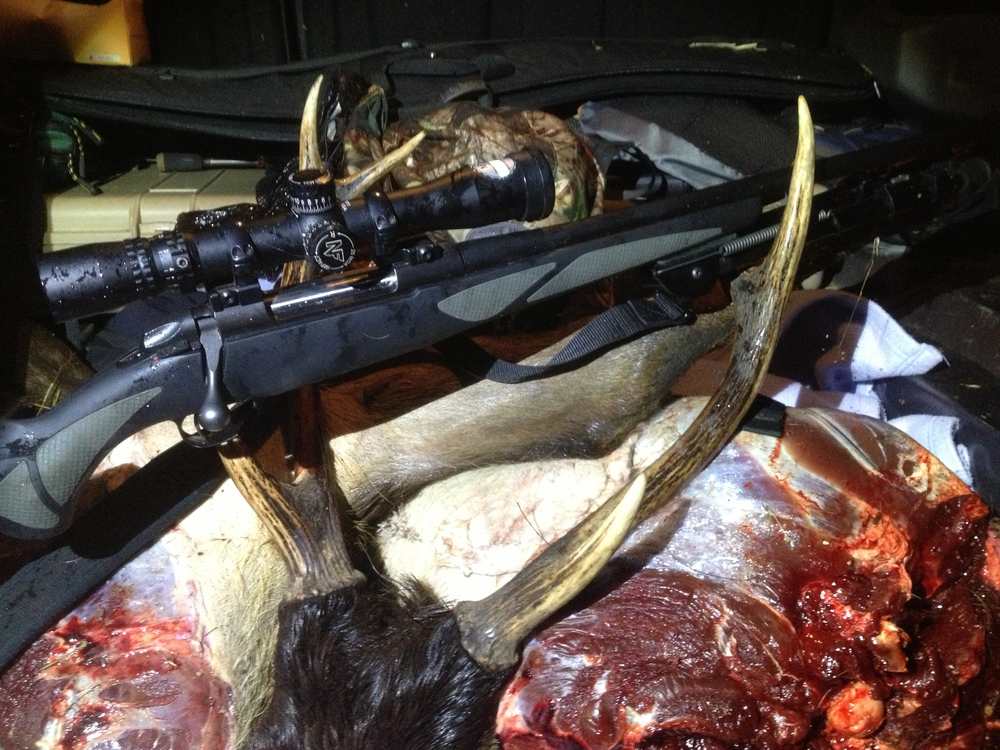 All the meat, hide and antlers packed into the 4x4 for the trip back to the lodge.
