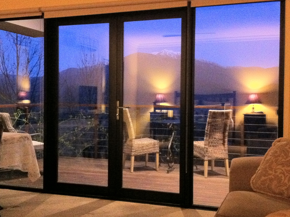 Looking out to the Alps opposite from one of the luxury spa chalets on the estate.