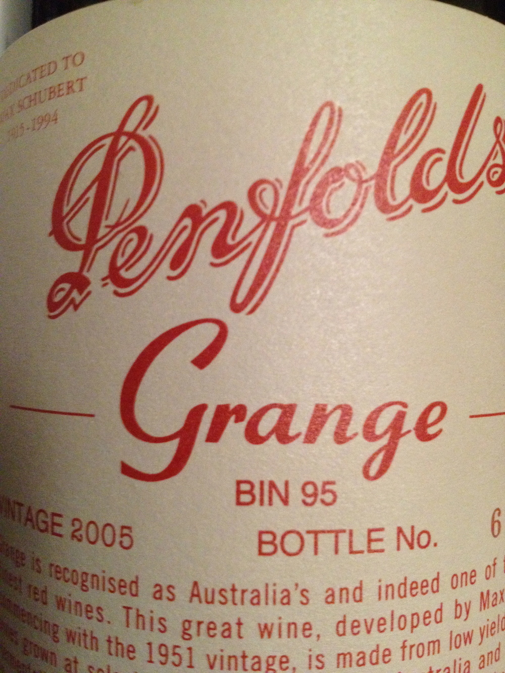 """With representatives of """"Penfold's Grange"""" & """"Hill of Grace"""". Australia's foremost red wine varieties."""