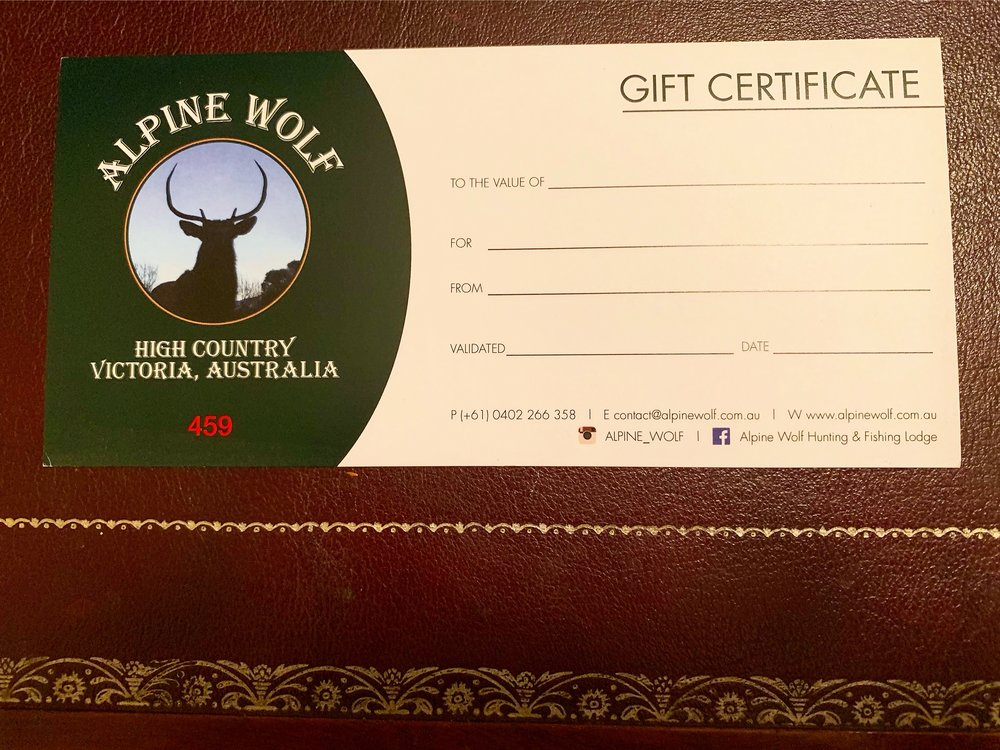 With Customised Gift Vouchers for Accommodation here on the Estate and guiding available.