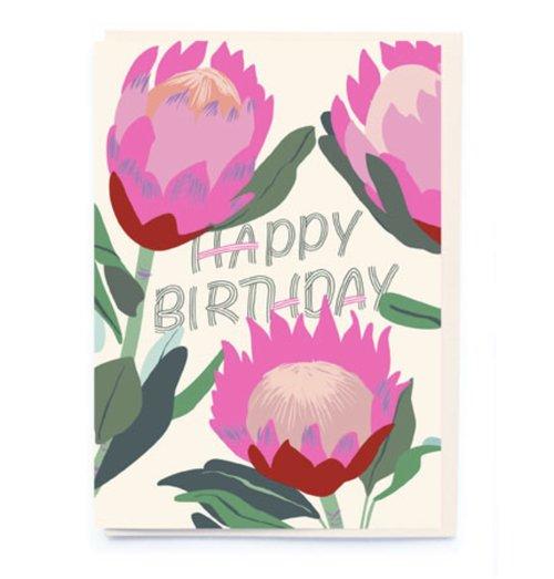 Happy birthday 3 big pink flowers card otherletters happy birthday 3 big pink flowers card mightylinksfo