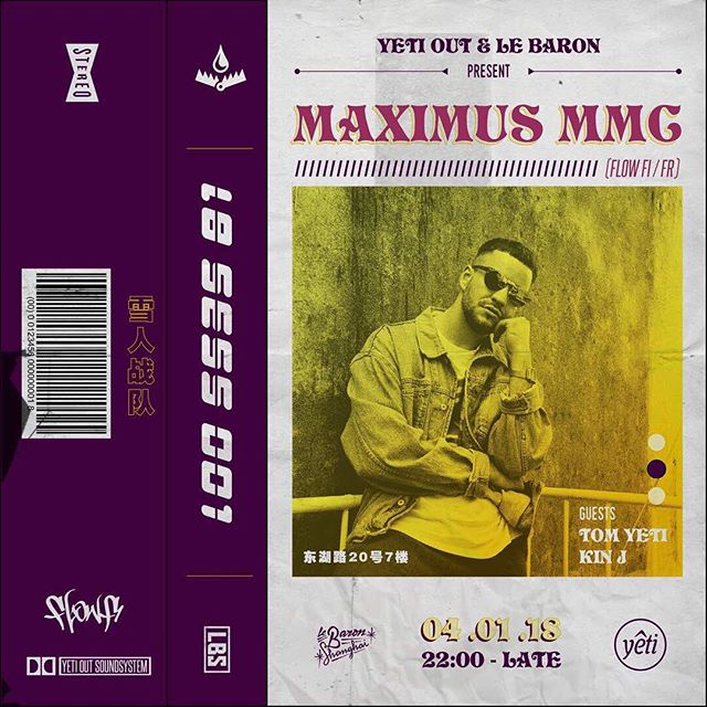 Our 🇫🇷 man @maximusmmc is having his 🇨🇳 debut at @lebaronshanghai this Thursday, Jan 4th. Major props to the @yetiout crew for making this happen ❤️