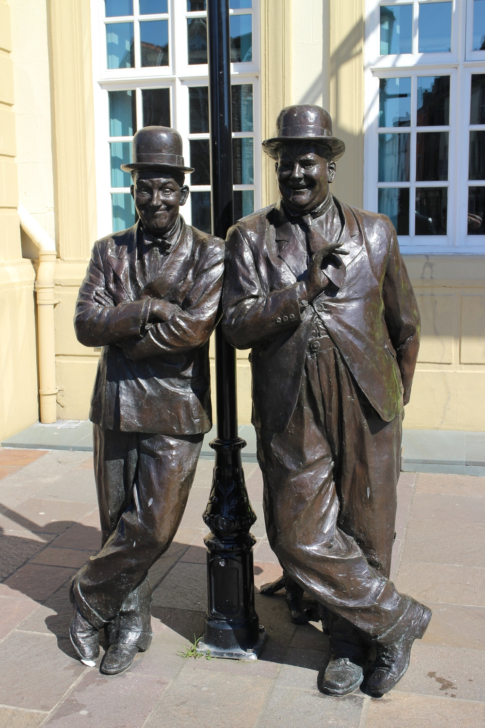 This 2009 statue of Laurel and Hardy was unveiled after a decade of fundraising